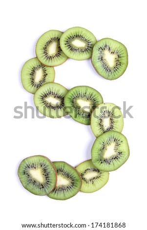 Letters and numbers alphabet of cut kiwi #174181868