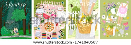 Summer, picnic, nature. Vector cute illustration of forest, objects, couple on a bicycle, picnic and woman in the village on the nature. Drawings for poster, postcard or card.      #1741840589