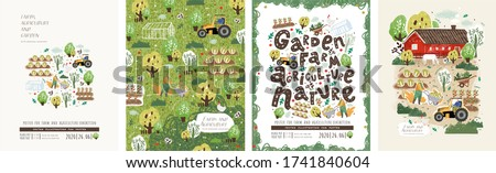 Farm, agriculture and garden. Vector illustration of garden work, garden beds, trees, village, home, tractor and nature. Drawing for poster, card or background.    #1741840604