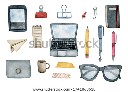 Large modern stationery set with a laptop, tablet, pens, pencils, paper clips, pins, notepads, glasses on a white background