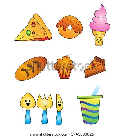 Clip art - Pizza, Donut, Ice Cream, Bread, Cupcake, Butter Cake, Spoon, Fork and Knife, Milk Tea