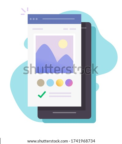Image photo editing software app online on mobile phone vector or smartphone picture creating via digital drawing program flat cartoon, concept of graphic editor content modern color design isolated