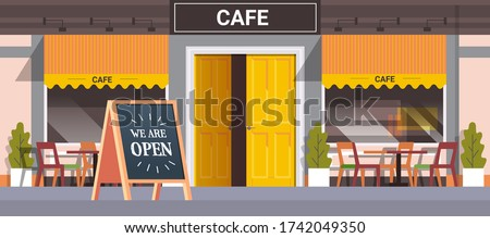 street cafe facade with we are open board urban building house exterior coronavirus quarantine is over horizontal vector illustration Royalty-Free Stock Photo #1742049350