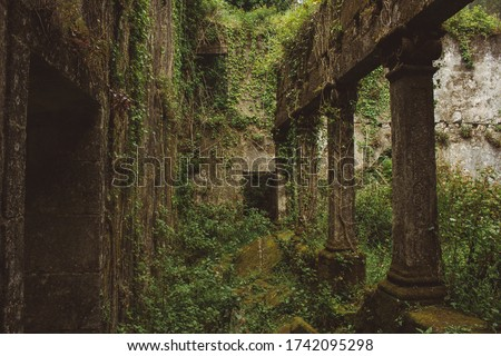 The ruins of Convent of Saint Francis of Mount (Sao Francisco do Monte), located in the parish of Santa Maria Maior, municipality and district of Viana do Castelo, in Portugal. Royalty-Free Stock Photo #1742095298