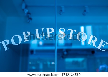Pop up store entrance glass door. Royalty-Free Stock Photo #1742134580