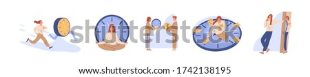 Concept of interaction people and time set vector flat illustration. Collection of man and woman business timing, earn money, self organization, missed opportunities, day planning isolated on white #1742138195
