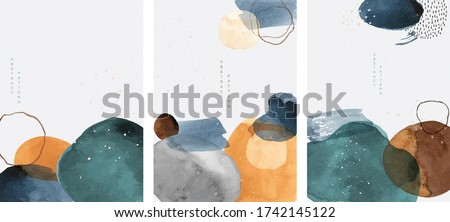 Abstract arts background with painting brush texture vector. Watercolor stain elements with Japanese wave pattern. Poster and card design in Asian style. #1742145122
