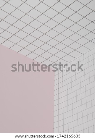 Checkered and pink background. Geometric angle, three-dimensional space background template. Conceptual art minimalistic photography. Copy space Royalty-Free Stock Photo #1742165633