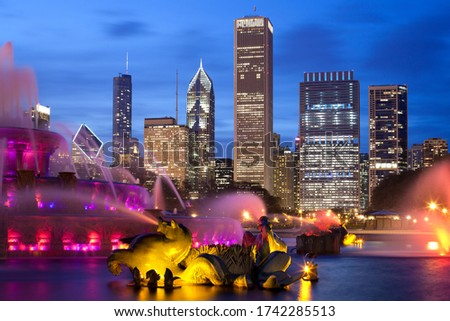 Downtown city skyline at dusk, Chicago, Illinois, United States
