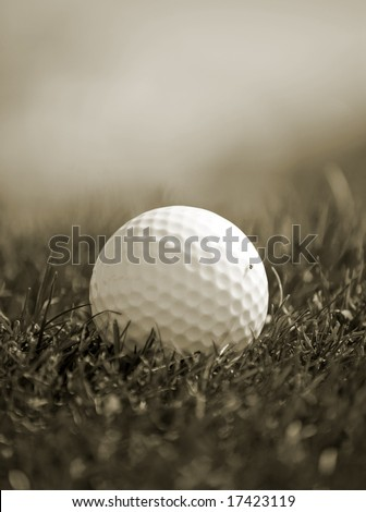 Sepia toned close-up of golf ball in grass #17423119