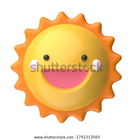happy sun, funny cute character. 3d render illustration