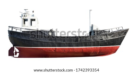 Fishing boat side view isolated on white background