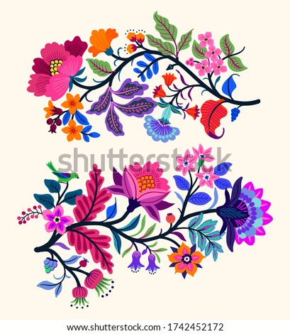 Vector Oriental motif of flowers. Original Floral design with of a woody vine with exotic flowers, tropic leaves and smaller birds. Tree of life Colorful flowers on a white background. Folk style. #1742452172