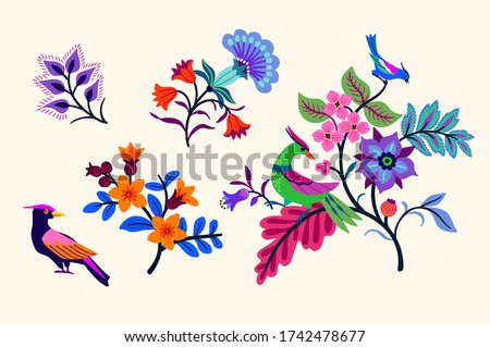 Vector Oriental motif of flowers. Original Floral design with of a woody vine with exotic flowers, tropic leaves and smaller birds. Tree of life Colorful flowers on a white background. Folk style. #1742478677