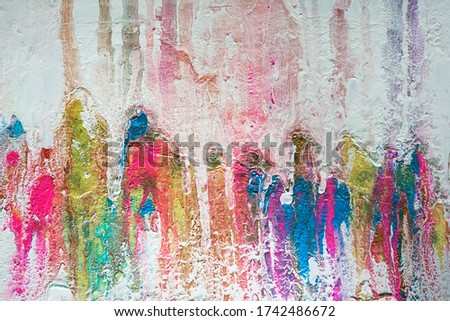 Colorful background, texture, rainbow colors, white smudges of paint