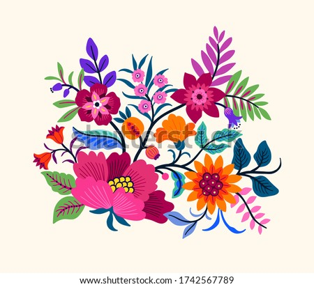 Vector Oriental motif of flowers. Original Floral design with of a woody vine with exotic flowers, tropic leaves and smaller birds. Tree of life Colorful flowers on a white background. Folk style. #1742567789