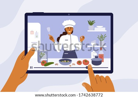 Culinary video broadcast, channel or blog with cooking online class. Young chef woman preparing healthy food in kitchen. Hands holding digital tablet with girl blogger on screen. Vector illustration. #1742638772