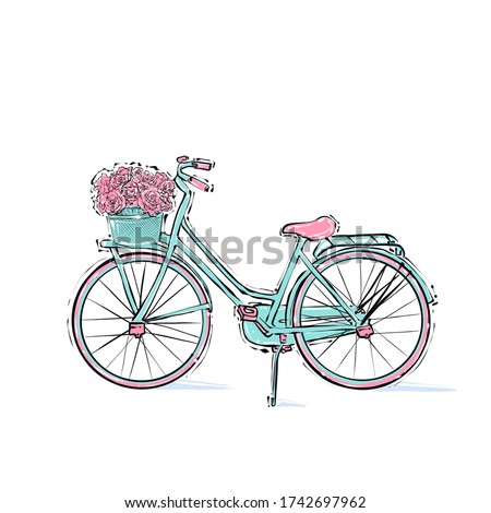 Beautiful bicycle with flowers, turquoise color.