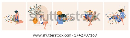 Vacation mood, feminine concept illustration, beautiful women in different situations, on the beach, sitting near the pool, reading books. Flat style vector design Royalty-Free Stock Photo #1742707169