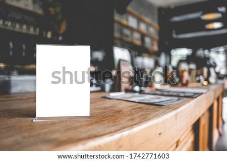 Stand Mock up Menu frame tent card blurred background design key visual layout.