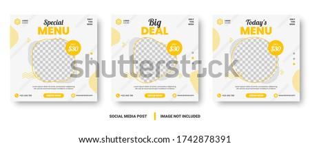 Food menu banner social media post. Editable social media templates for promotions on the Food menu. Set of social media story and post frames. Layout design for marketing on social media. #1742878391
