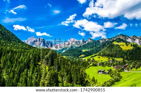 Mountain green hill village landscape. Sumer greem mountain valley view