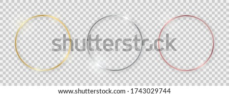 Round shiny frames with glowing effects. Set of three gold, silver and rose gold round frames with shadows on transparent background. Vector illustration Royalty-Free Stock Photo #1743029744