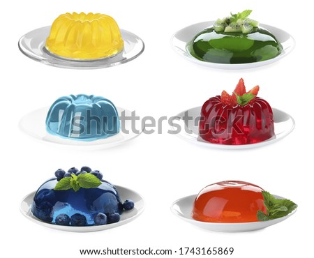 Set of tasty jelly desserts on white background Royalty-Free Stock Photo #1743165869
