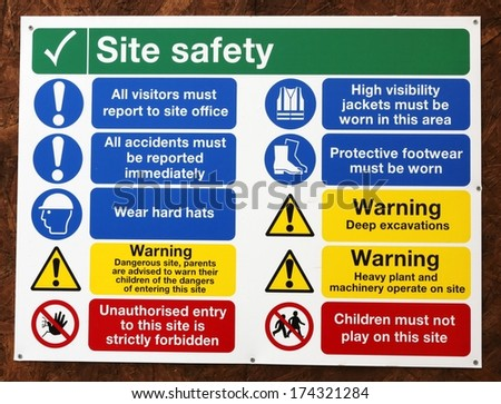 Construction Signs building site, construction environments, isolated by groups