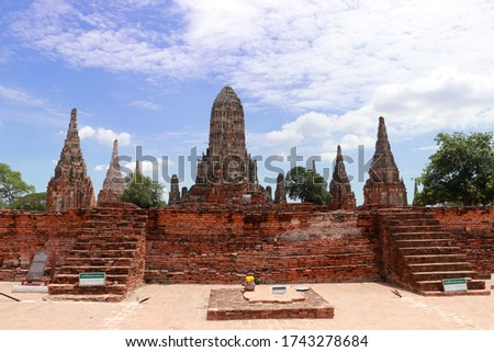 The ruins of Chaiwatthanaram Temple in Thailand. It was a royal temple complex during the Ayutthaya Period.The main architecture which is also the principal monuments of the temple complex is a group  #1743278684