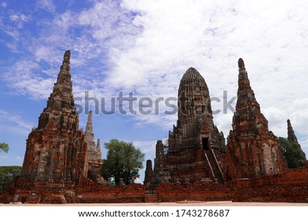 The ruins of Chaiwatthanaram Temple in Thailand. It was a royal temple complex during the Ayutthaya Period.The main architecture which is also the principal monuments of the temple complex is a group  #1743278687