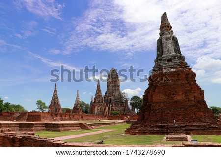 The ruins of Chaiwatthanaram Temple in Thailand. It was a royal temple complex during the Ayutthaya Period.The main architecture which is also the principal monuments of the temple complex is a group  #1743278690
