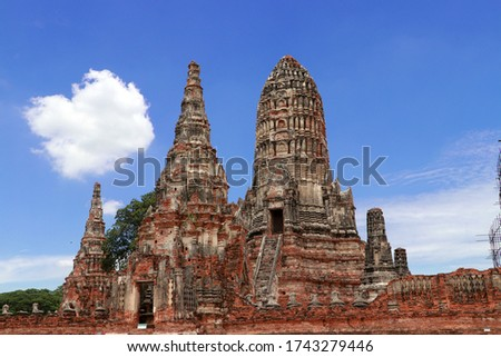 The ruins of Chaiwatthanaram Temple in Thailand. It was a royal temple complex during the Ayutthaya Period.The main architecture which is also the principal monuments of the temple complex is a group  #1743279446
