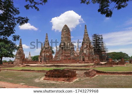 The ruins of Chaiwatthanaram Temple in Thailand. It was a royal temple complex during the Ayutthaya Period.The main architecture which is also the principal monuments of the temple complex is a group  #1743279968