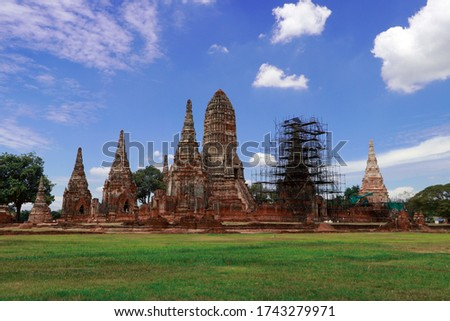 The ruins of Chaiwatthanaram Temple in Thailand. It was a royal temple complex during the Ayutthaya Period.The main architecture which is also the principal monuments of the temple complex is a group  #1743279971