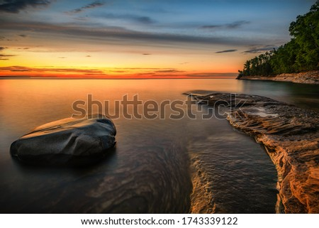 Twilight at Pictured Rocks National Lakeshore, Lake Superior in Upper Michigan