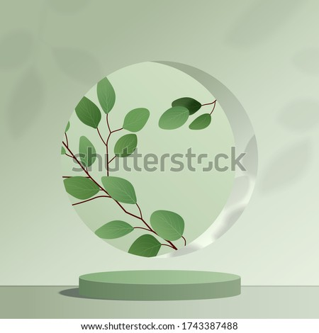 Abstract minimal scene with geometric forms. cylinder green podium in green background with leaves. product presentation, mock up, show cosmetic product, Podium, stage pedestal or platform. 3d vector #1743387488
