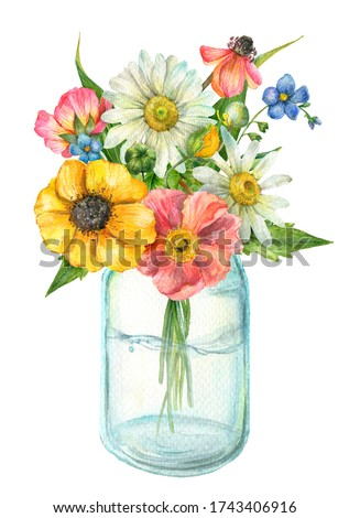 Flowers watercolor painting, glass jar with garden flowers and leaves, floral clip art for greeting card, invitation, poster, wedding decoration and other images. Illustration isolated on white.