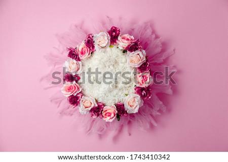 Violet flower nest for newborn photography, digital background. Composite for newborn photoshoot.