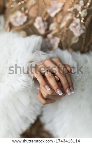 Couple. You can see the hands of woman. Sensually.Focus on the wedding ring #1743413114