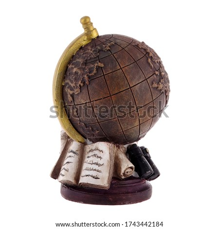 Isolated close up view of decorative old globe in cartoon style on white background.