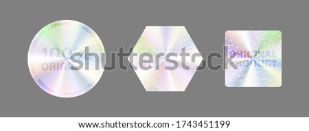 Round Hologram Label Set Isolated On White. Geometric Holographic Label For Award Design, Product Guarantee, Sticker Design. Vector Hologram Sticker Collection. Quality Holographic Sticker Set. #1743451199