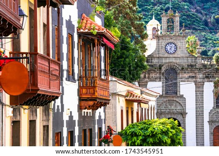 Canary isands travel and landmarks. Teror - most beautiful traditional town of Grand Canary (Gran Canaria).  Royalty-Free Stock Photo #1743545951