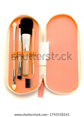 Makeup brushes in a case isolated on white background. Various set of professional makeup brushes. Case with powder brushes, eyebrow brush, eye brush and lip brush. #1743558161