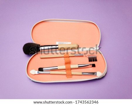 Makeup brushes in a case isolated on purple background. Various set of professional makeup brushes. Case with powder brushes, eyebrow brush, eye brush and lip brush. #1743562346