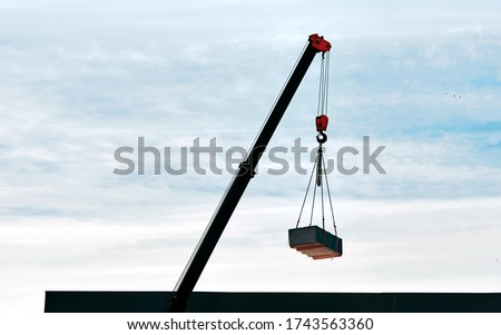 Crane lifts materials on the roof for construction and decoration of building. Crane with raised telescopic boom on construction site. Crane working on sunset background, sling and hoist crane arm #1743563360