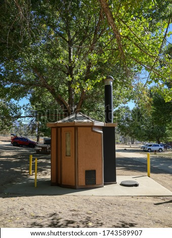 Public outhouse restrooms at Lake Hemet campground.