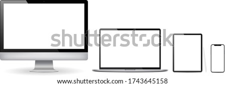 Realistic set of 2020 new design thin frame Computer monitor, laptop, tablet, smart phone - Eps 10 Vector template mock up. #1743645158