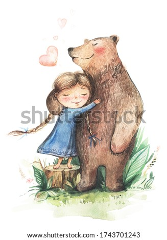 Little girl with pigtails and in a blue dress hugs a big bear. Watercolor illustration of a girl and a bear. Cute girl and good bear. Girl and bear in the forest.