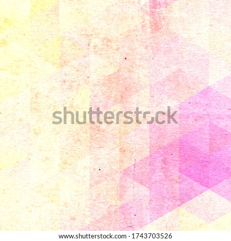 Polygonal colorful textured old paper background with yellow and pink colors and stains